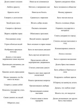 Список любимых занятий