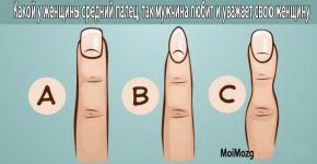 Какой у женщины средний палец, так мужчина любит и уважает свою женщину