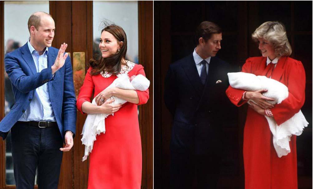 Кейт Миддлтон отдала дань принцессе Диане, надев похожее платье в роддоме — фото