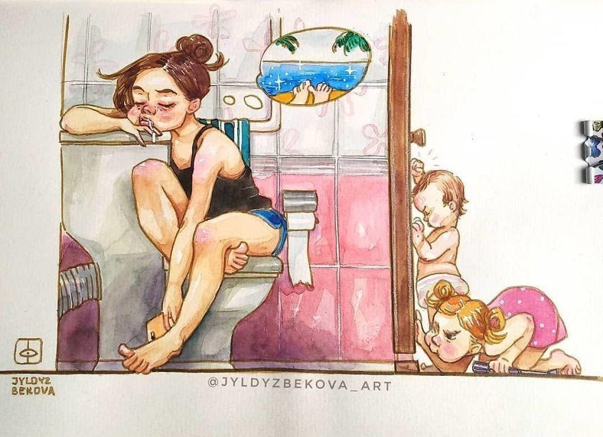 Реалии жизни с ребенком в рисунках одной мамы