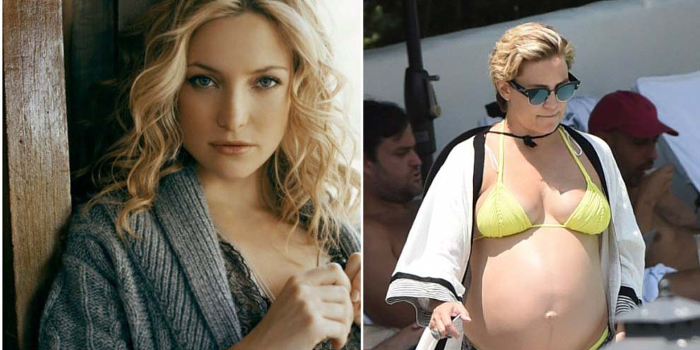Беременная Кейт Хадсон не стесняется огромного живота на пляже — фото